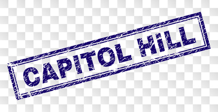CAPITOL HILL stamp seal imprint with rubber print style and double framed rectangle shape. Stamp is placed on a transparent background.