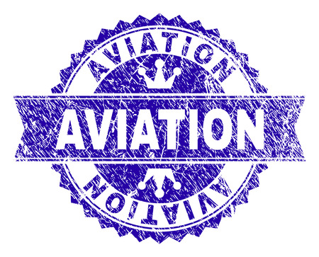 AVIATION rosette stamp seal imitation with grunge style. Designed with round rosette, ribbon and small crowns. Blue vector rubber watermark of AVIATION text with retro style.