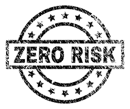 ZERO RISK stamp seal watermark with distress style. Designed with rectangle, circles and stars. Black vector rubber print of ZERO RISK caption with scratched texture.