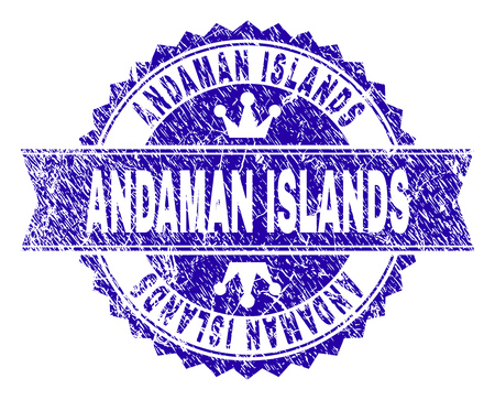 ANDAMAN ISLANDS rosette stamp watermark with distress texture. Designed with round rosette, ribbon and small crowns. Blue vector rubber watermark of ANDAMAN ISLANDS caption with dirty style. Иллюстрация
