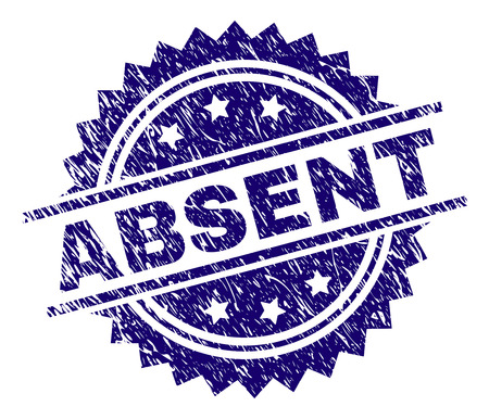 ABSENT stamp seal watermark with distress style. Blue vector rubber print of ABSENT caption with scratched texture.