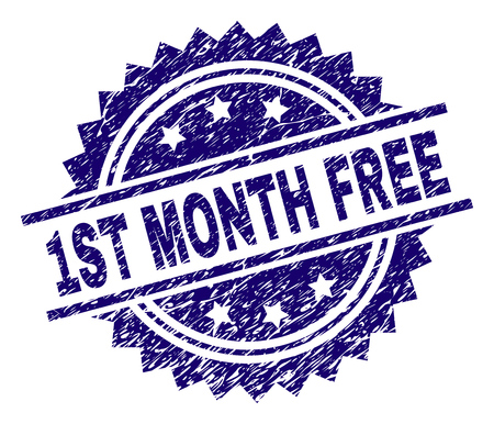 1ST MONTH FREE stamp seal watermark with distress style. Blue vector rubber print of 1ST MONTH FREE caption with dirty texture. Çizim