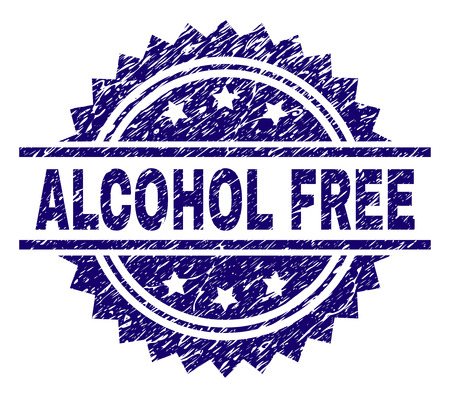 ALCOHOL FREE stamp seal watermark with distress style. Blue vector rubber print of ALCOHOL FREE title with corroded texture.