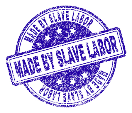 MADE BY SLAVE LABOR stamp seal watermark with grunge texture. Designed with rounded rectangles and circles. Blue vector rubber print of MADE BY SLAVE LABOR text with grunge texture.