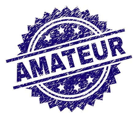 AMATEUR stamp seal watermark with distress style. Blue vector rubber print of AMATEUR label with dirty texture.