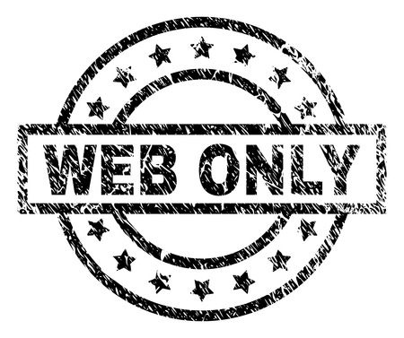 WEB ONLY stamp seal watermark with distress style. Designed with rectangle, circles and stars. Black vector rubber print of WEB ONLY title with scratched texture. Vector Illustration