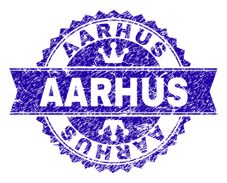 AARHUS rosette stamp watermark with distress effect. Designed with round rosette, ribbon and small crowns. Blue vector rubber watermark of AARHUS tag with scratched style. Illustration
