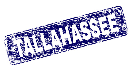 TALLAHASSEE stamp seal print with grunge texture. Seal shape is a rounded rectangle with frame. Blue vector rubber print of TALLAHASSEE tag with dirty texture. Illustration