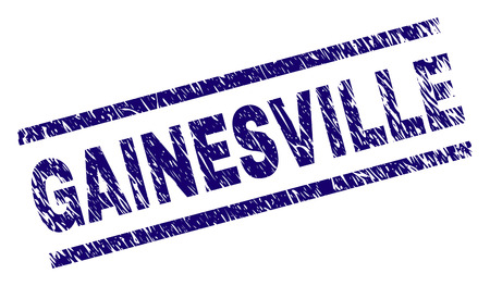 GAINESVILLE seal print with grunge style. Blue vector rubber print of GAINESVILLE title with unclean texture. Text caption is placed between parallel lines. Ilustração