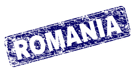 ROMANIA stamp seal watermark with grunge style. Seal shape is a rounded rectangle with frame. Blue vector rubber print of ROMANIA caption with grunge style.