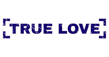 TRUE LOVE text seal imprint with distress texture. Text caption is placed between corners. Blue vector rubber print of TRUE LOVE with scratched texture. Illustration