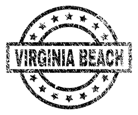 VIRGINIA BEACH stamp seal watermark with distress style. Designed with rectangle, circles and stars. Black vector rubber print of VIRGINIA BEACH tag with unclean texture.