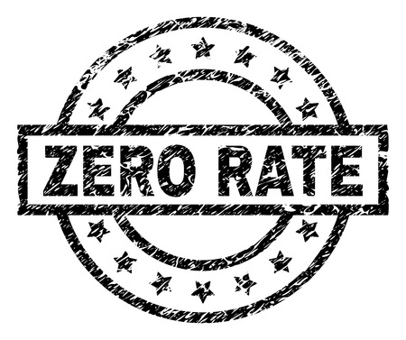 ZERO RATE stamp seal watermark with distress style. Designed with rectangle, circles and stars. Black vector rubber print of ZERO RATE caption with scratched texture. Çizim