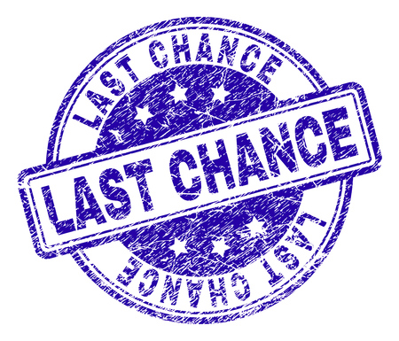 LAST CHANCE stamp seal imprint with grunge effect. Designed with rounded rectangles and circles. Blue vector rubber print of LAST CHANCE title with grunge texture.