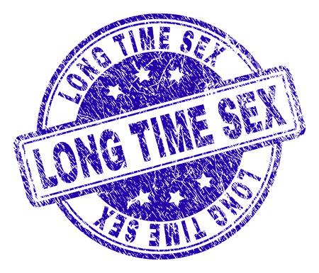 LONG TIME SEX Stempelsiegel-Wasserzeichen mit Distress-Textur. Entworfen mit abgerundeten Rechtecken und Kreisen. Blauer Vektorgummidruck von LANGZEITSEX-Text mit Grunge-Textur.