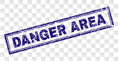 DANGER AREA stamp seal print with grainy style and double framed rectangle shape. Stamp is placed on a transparent background. Blue vector rubber print of DANGER AREA title with grunge texture. 向量圖像