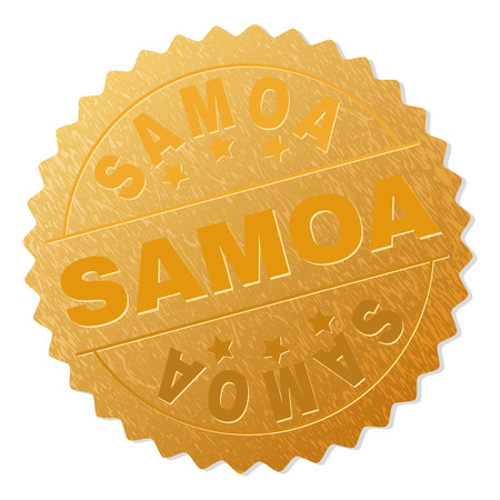 SAMOA gold stamp badge. Vector golden medal with SAMOA text. Text labels are placed between parallel lines and on circle. Golden skin has metallic effect.