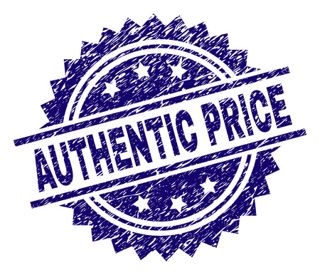 AUTHENTIC PRICE stamp seal watermark with distress style. Blue vector rubber print of AUTHENTIC PRICE caption with dirty texture.