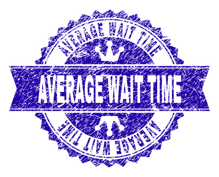 AVERAGE WAIT TIME rosette stamp watermark with distress texture. Designed with round rosette, ribbon and small crowns. Blue vector rubber watermark of AVERAGE WAIT TIME tag with retro texture. Ilustração
