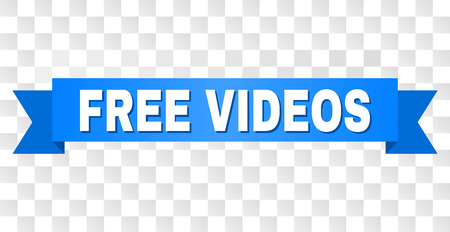FREE VIDEOS text on a ribbon. Designed with white caption and blue tape. Vector banner with FREE VIDEOS tag on a transparent background. Ilustração