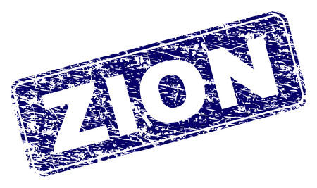 ZION stamp seal print with distress texture. Seal shape is a rounded rectangle with frame. Blue vector rubber print of ZION caption with grunge texture.