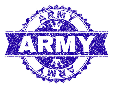 ARMY rosette stamp seal imitation with distress texture. Designed with round rosette, ribbon and small crowns. Blue vector rubber watermark of ARMY caption with dust texture. Illustration