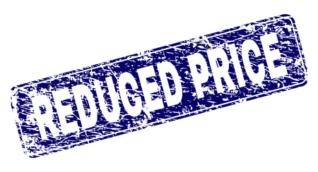 REDUCED PRICE stamp seal watermark with grunge style. Seal shape is a rounded rectangle with frame. Blue vector rubber print of REDUCED PRICE caption with grunge style.