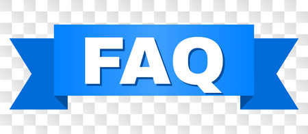 FAQ text on a ribbon. Designed with white title and blue stripe. Vector banner with FAQ tag on a transparent background. Ilustração