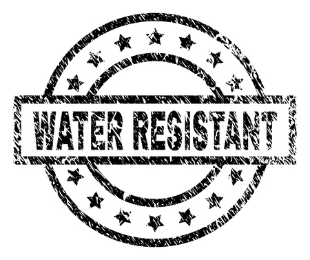 WATER RESISTANT stamp seal watermark with distress style. Designed with rectangle, circles and stars. Black vector rubber print of WATER RESISTANT label with grunge texture. Ilustração