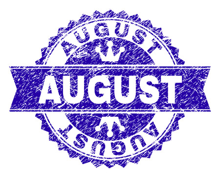 AUGUST rosette stamp seal watermark with distress texture. Designed with round rosette, ribbon and small crowns. Blue vector rubber watermark of AUGUST label with retro texture.