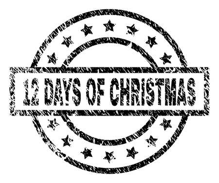 12 DAYS OF CHRISTMAS stamp seal watermark with distress style. Designed with rectangle, circles and stars. Black vector rubber print of 12 DAYS OF CHRISTMAS label with retro texture. Illustration
