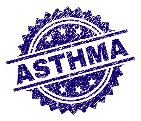 ASTHMA stamp seal watermark with distress style. Blue vector rubber print of ASTHMA tag with corroded texture.