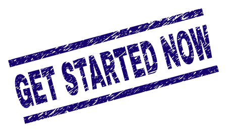 GET STARTED NOW seal print with scratced style. Blue vector rubber print of GET STARTED NOW text with dust texture. Text caption is placed between parallel lines. Çizim