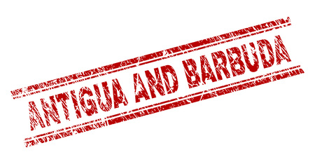 ANTIGUA AND BARBUDA seal watermark with grunge texture. Red vector rubber print of ANTIGUA AND BARBUDA text with dust texture. Text tag is placed between double parallel lines. Illustration