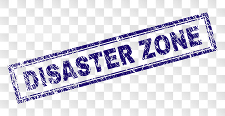 DISASTER ZONE stamp seal print with rubber print style and double framed rectangle shape. Stamp is placed on a transparent background. Illustration