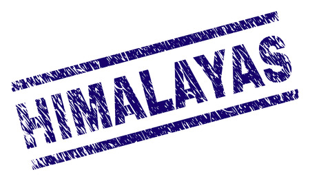 HIMALAYAS seal print with distress style. Blue vector rubber print of HIMALAYAS title with corroded texture. Text title is placed between parallel lines.