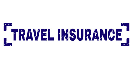 TRAVEL INSURANCE text seal print with grunge texture. Text title is placed between corners. Blue vector rubber print of TRAVEL INSURANCE with dust texture.