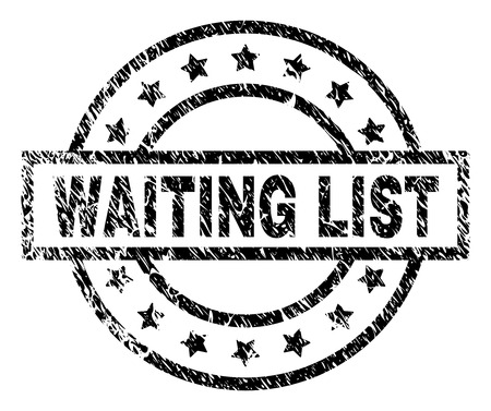 WAITING LIST stamp seal watermark with distress style. Designed with rectangle, circles and stars. Black vector rubber print of WAITING LIST label with dust texture.