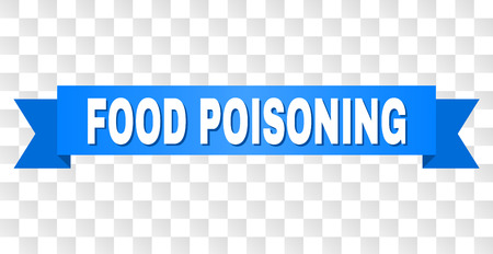 FOOD POISONING text on a ribbon. Designed with white title and blue stripe. Vector banner with FOOD POISONING tag on a transparent background. Illustration