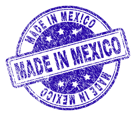 MADE IN MEXICO stamp seal imprint with grunge style. Designed with rounded rectangles and circles. Blue vector rubber print of MADE IN MEXICO tag with grunge texture.
