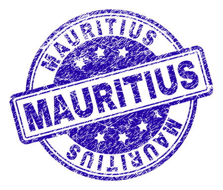 MAURITIUS stamp seal imprint with grunge texture. Designed with rounded rectangles and circles. Blue vector rubber print of MAURITIUS label with corroded texture.