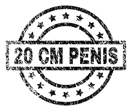 20 CM PENIS stamp seal watermark with distress style. Designed with rectangle, circles and stars. Black vector rubber print of 20 CM PENIS tag with retro texture.