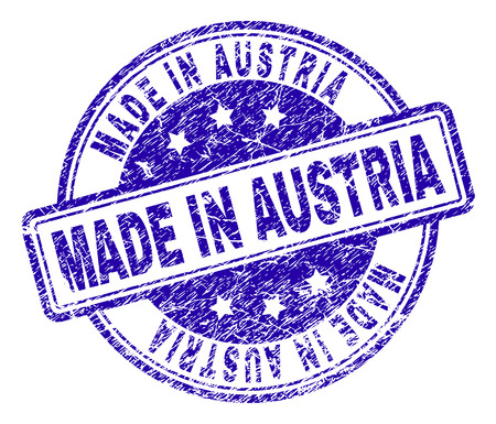 MADE IN AUSTRIA Stamp Seal Watermark With Distress Texture Designed Rounded Rectangles And Circles