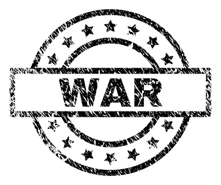 WAR stamp seal watermark with distress style. Designed with rectangle, circles and stars. Black vector rubber print of WAR text with grunge texture.