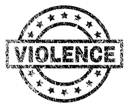 VIOLENCE stamp seal watermark with distress style. Designed with rectangle, circles and stars. Black vector rubber print of VIOLENCE text with retro texture.