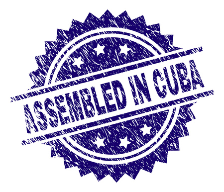 ASSEMBLED IN CUBA stamp seal watermark with distress style. Blue vector rubber print of ASSEMBLED IN CUBA text with dust texture.