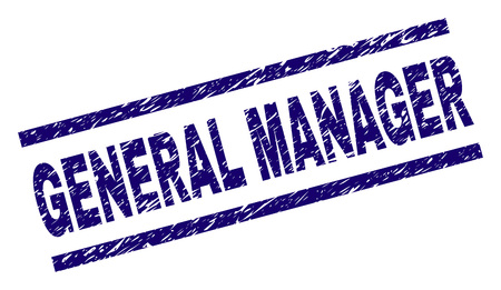 GENERAL MANAGER seal watermark with grunge style. Blue vector rubber print of GENERAL MANAGER caption with grunge texture. Text label is placed between parallel lines. Vectores