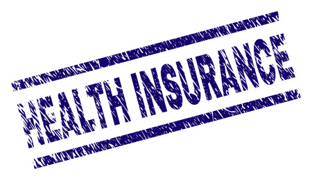 HEALTH INSURANCE seal stamp with grunge style. Blue vector rubber print of HEALTH INSURANCE text with grunge texture. Text title is placed between parallel lines.