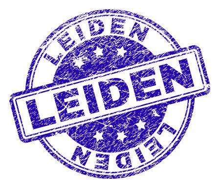 LEIDEN stamp seal watermark with distress texture. Designed with rounded rectangles and circles. Blue vector rubber print of LEIDEN tag with scratched texture.