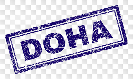 DOHA stamp seal watermark with rubber print style and double framed rectangle shape. Stamp is placed on a transparent background. Blue vector rubber print of DOHA text with retro texture. Illustration